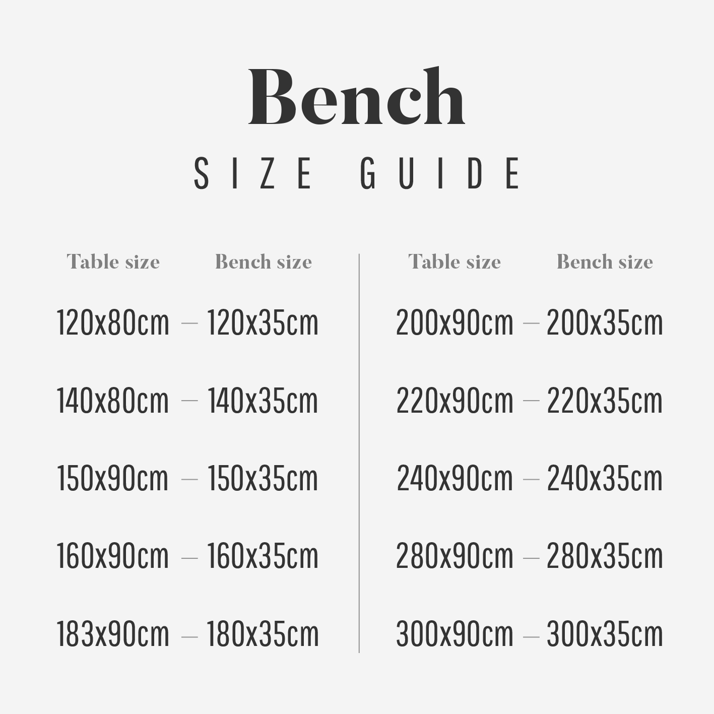 Bench Size Guide Full-Length