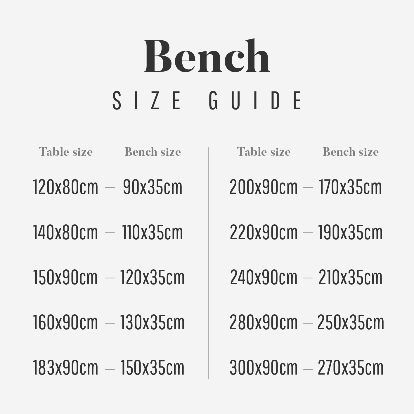 Bench Size Guide