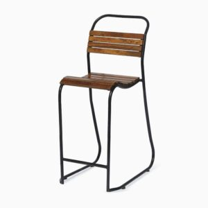 wooden slatted stool