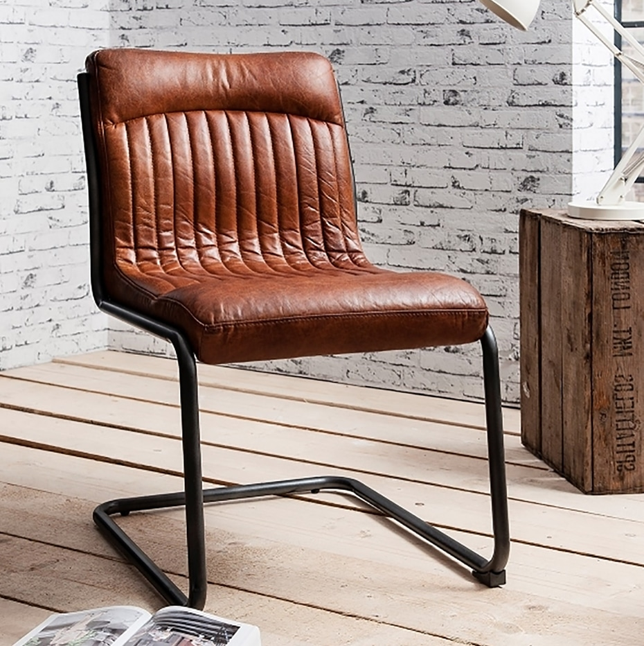 indutry chair brown leather