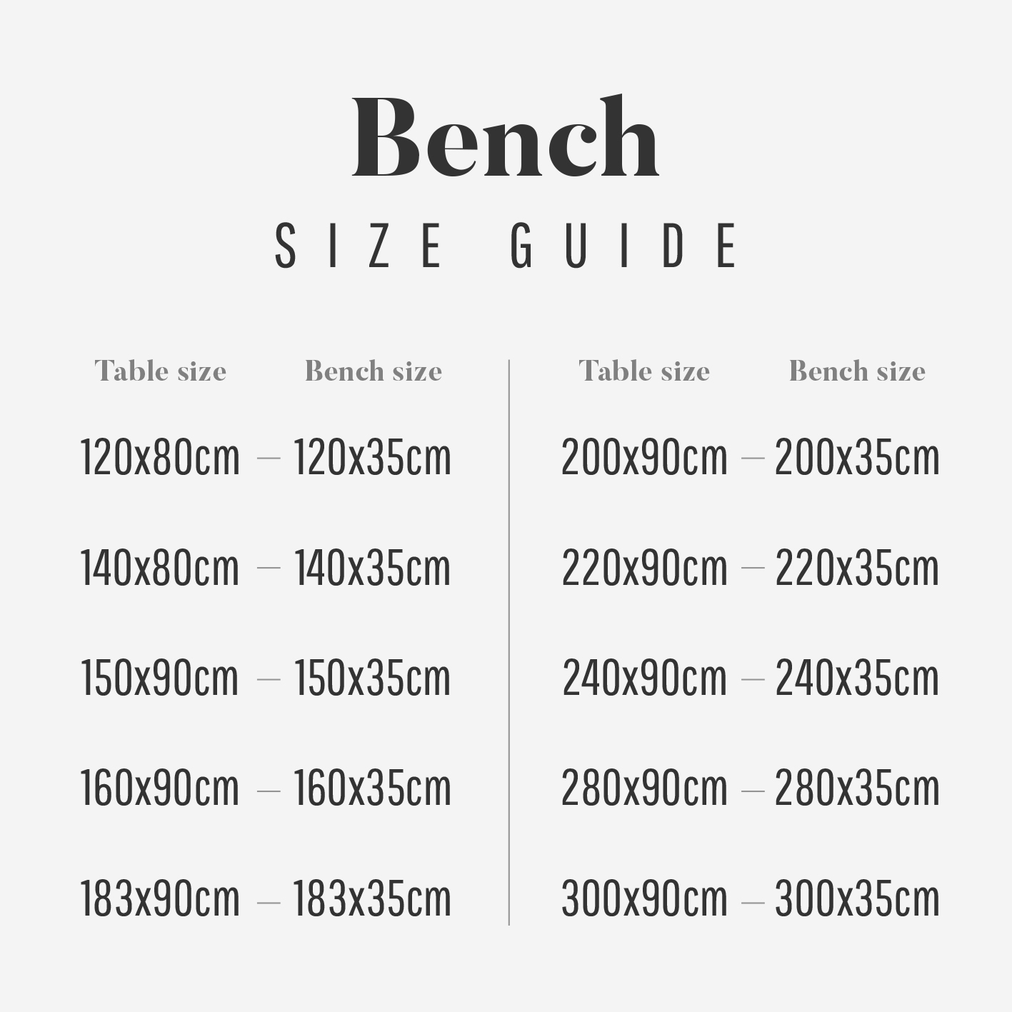 Heyl Bench size guide