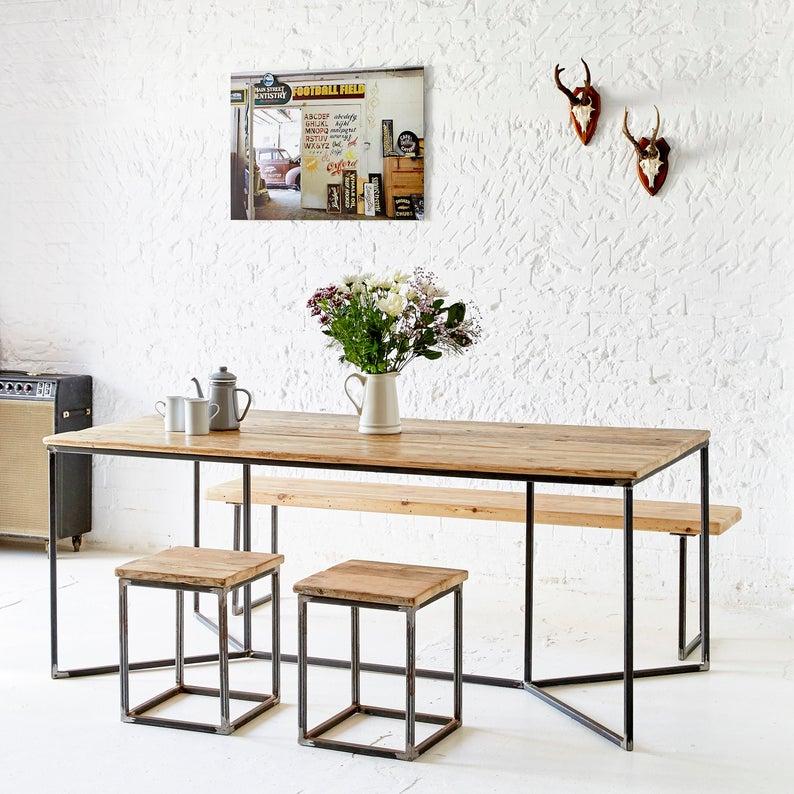 Industrial Rustic Reclaimed Wood Table - Y Base