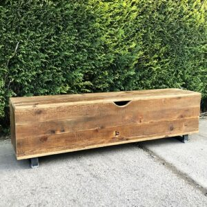 Industrial Reclaimed Wood Bench With Storage Compartment